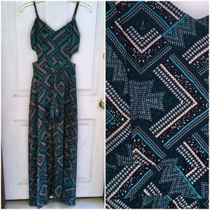 Teal Aztec Maxi Romper with Cutouts - Stunning!